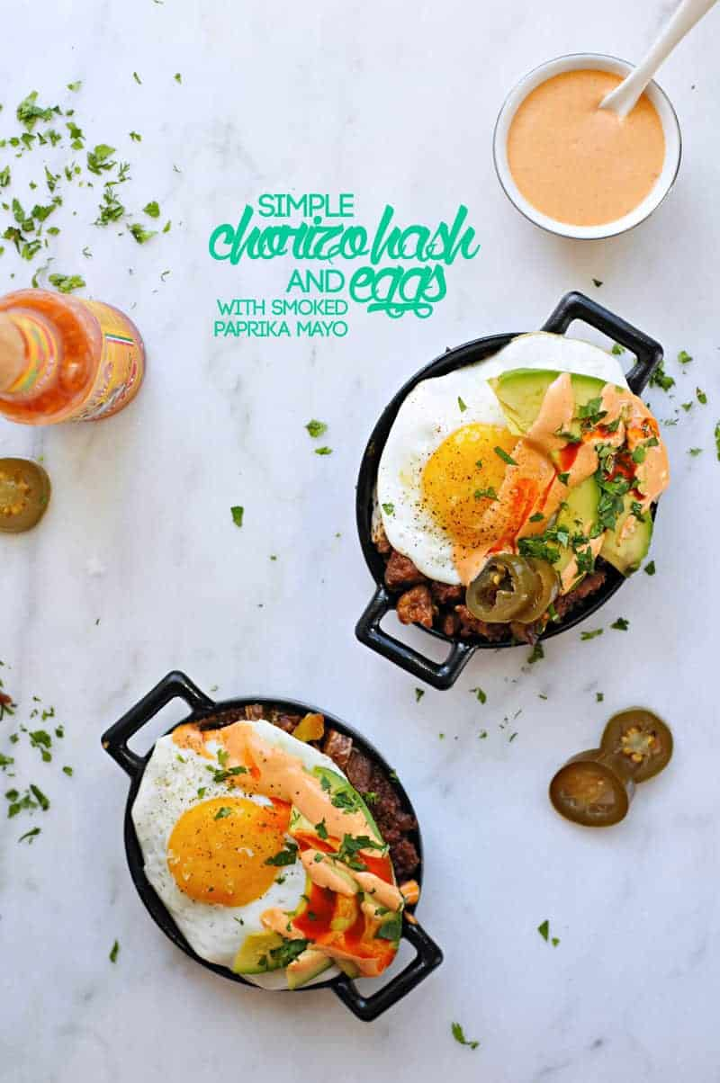 Simple Chorizo Hash and Eggs with Smoked Paprika Mayo recipe (via thepigandquill.com) #cincodemayo #brunch