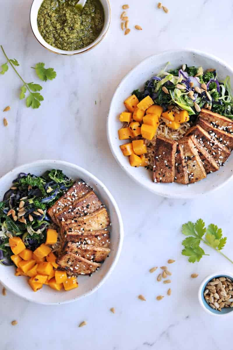 Sesame Balsamic Tofu Bowls with Chile Mango + Sunflower-Cilantro Pesto recipe from @thepigandquill | thepigandquill.com | #vegan #dairyfree #glutenfree