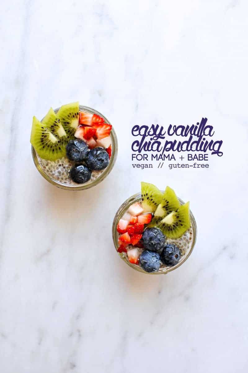 Overnight Vegan Vanilla Chia Pudding (for mama + babe!) from @thepigandquill (via thepigandquill.com) #dairyfree #eggfree #babyledweaning #blw #babyfood