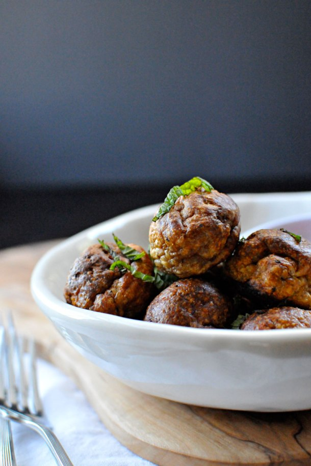 Roasted Turkey Meatballs with Cranberry-Mustard Sauce | the pig & quill