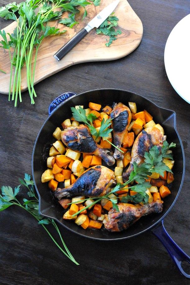 Crispy Chicken & Root Veggies Skillet (gluten-free) | the pig & quill