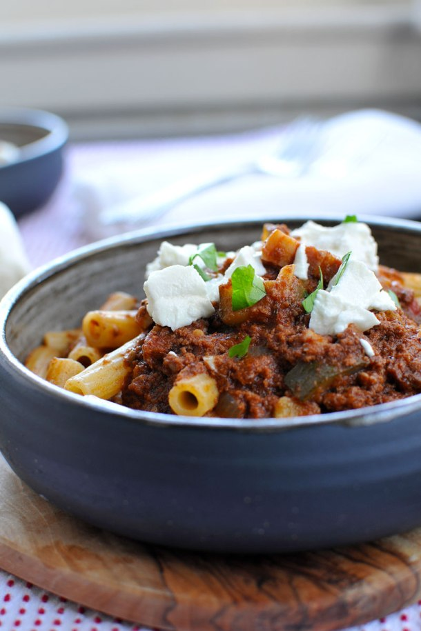 Pig n' Prairie Pasta (Rigatoni with Easy Bacon & Bison Bolognese) // the pig & quill