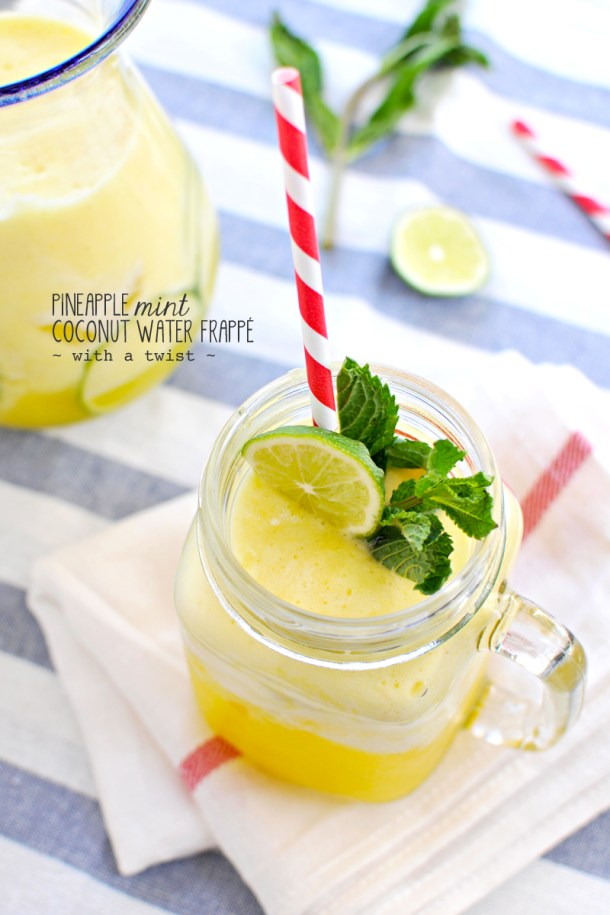 Pineapple Mint Coconut Water Frappé | the pig & quill #vegan #paleoish