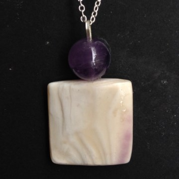 Modern Wampum with Amethyst Bead Pendant with Sterling Silver Chain and bale.