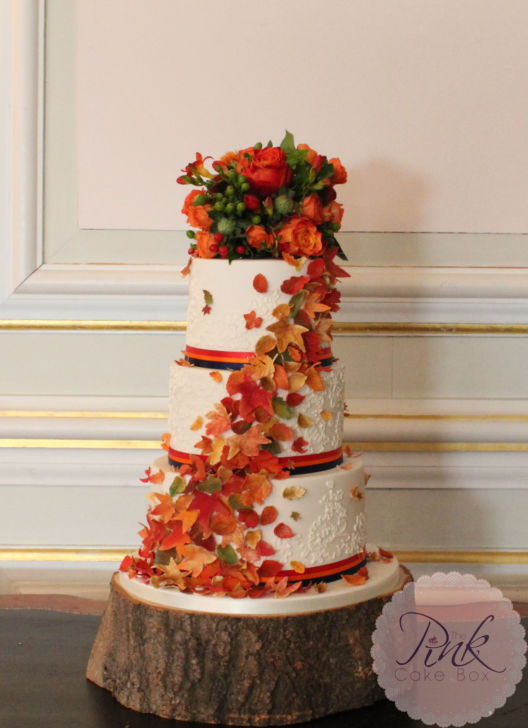 the pink cake box   Wedding Cakes by The Pink Cake Box autumn leaf cascade wedding cake