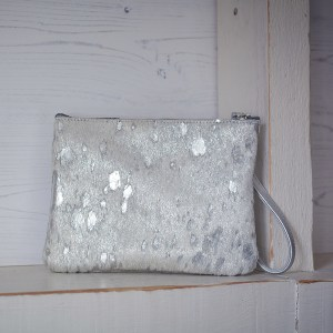 Minnie Clutch Bag Leather Silver Fleck