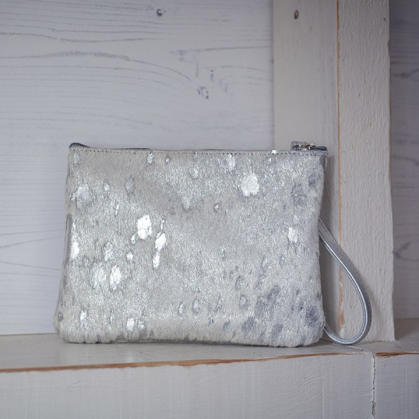 Minnie Clutch Bag Leather Silver Fleck