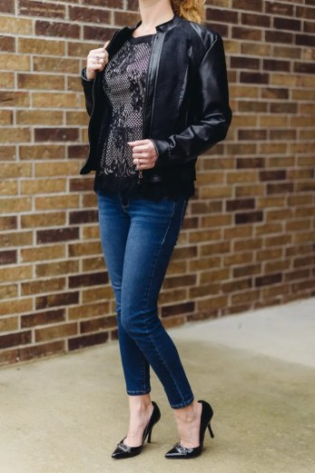 Felding Lace Overlay Peplum Blouse under the Collins Faux Leather Jacket