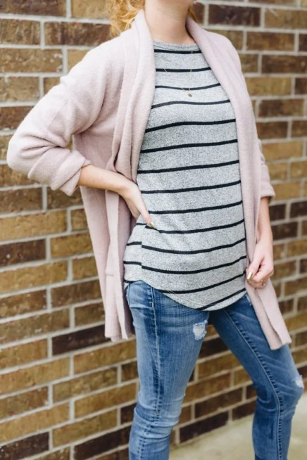 Betta Pocket Detail Open Cardigan over the Corinna Striped Dolman