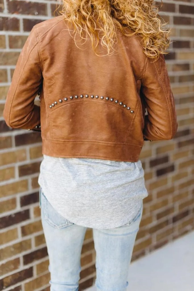 Tambo Studded Faux Suede Moto Jacket