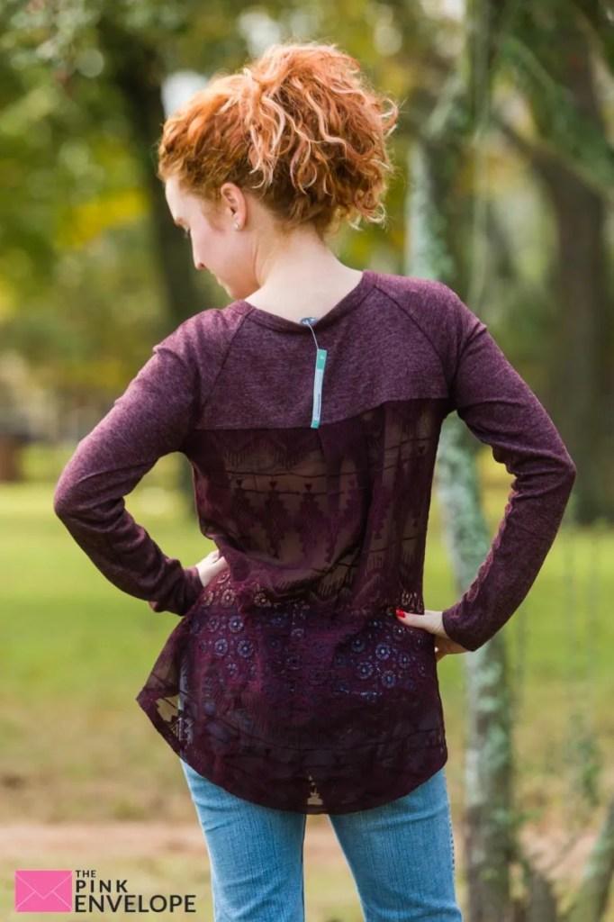 Brixon Ivy Mange Mixed Media Crochet Back Knit Top