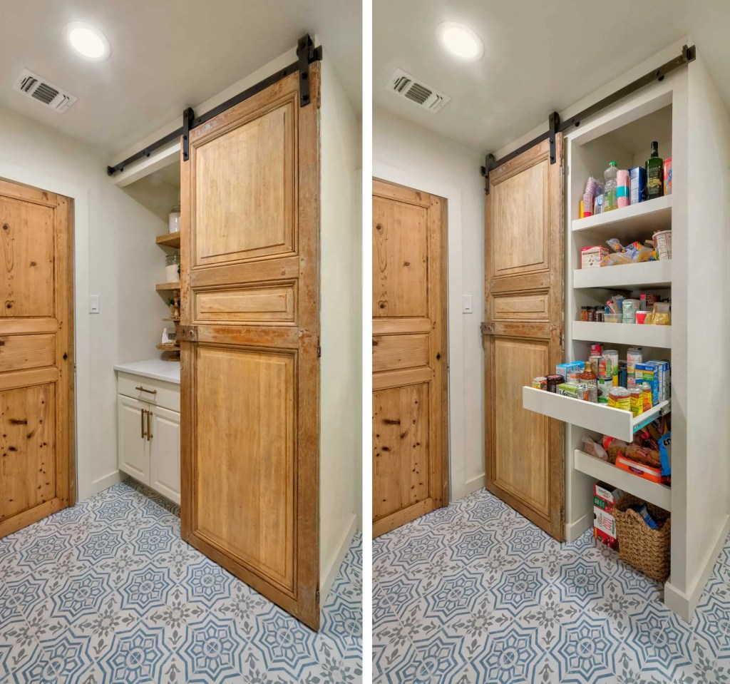 Antique Sliding Door Pantry with drawers