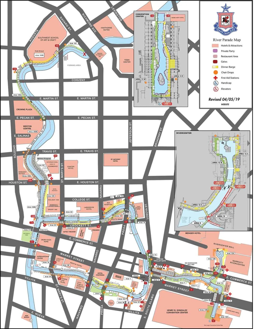Texas Cavalier River Parade Map 2019
