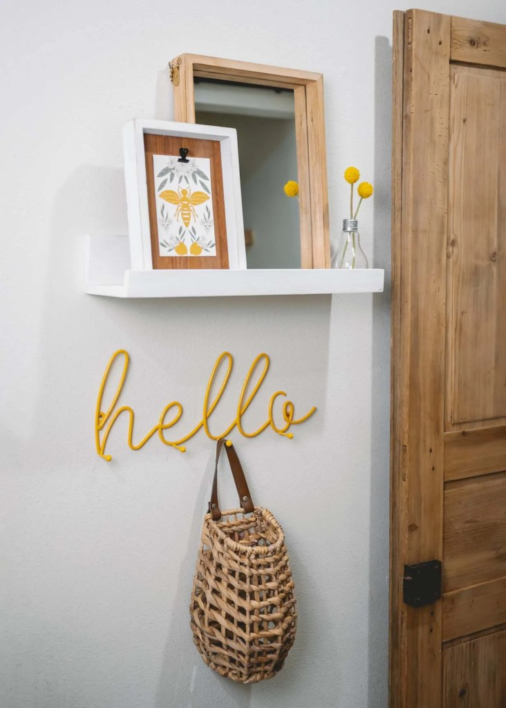 Decocrated white wood shelf