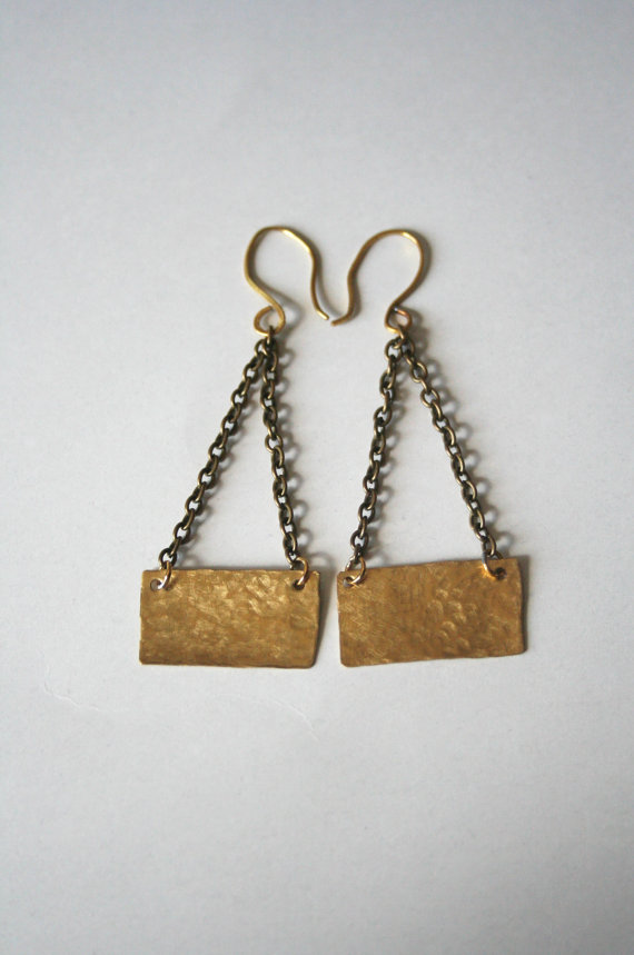 Hammered Gold Brass Dangle Chain Earrings