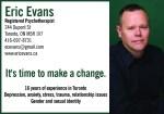 Eric Evans, Registered Psychotherapist, CTP Dipl, BA