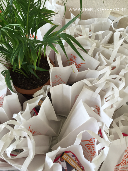 Goodie Bags with gifts from Candylawa, Destination Riyadh, and The Pink Tarha.