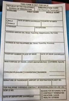 embarkation card na dapat i-fill-out at ibigay sa immigration desk (theverbaldiarrhea.com)