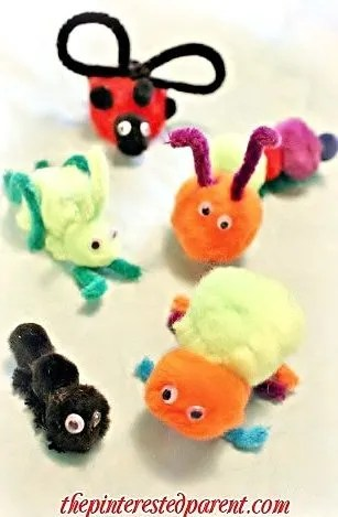 Craft Pom pom insects - an adorable spring or summer crafts for kids