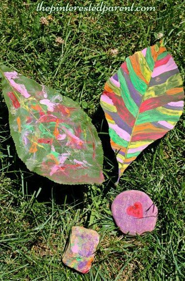 Nature painting - kid's arts & crafts summer activities