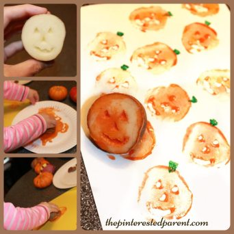 Potato Stamp Pumpkins. A classic and fun Halloween and fall paint project for kids. Autumn arts & crafts