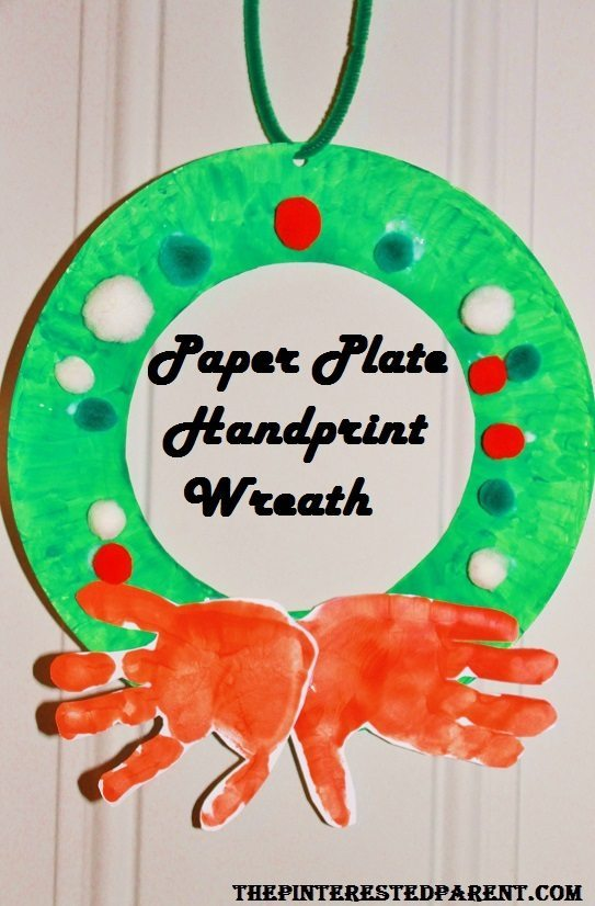 Paper plate hand print wreath craft for kids. Christmas art and crafts  sc 1 st  The Pinterested Parent & Paper Plate Handprint Wreath u2013 The Pinterested Parent