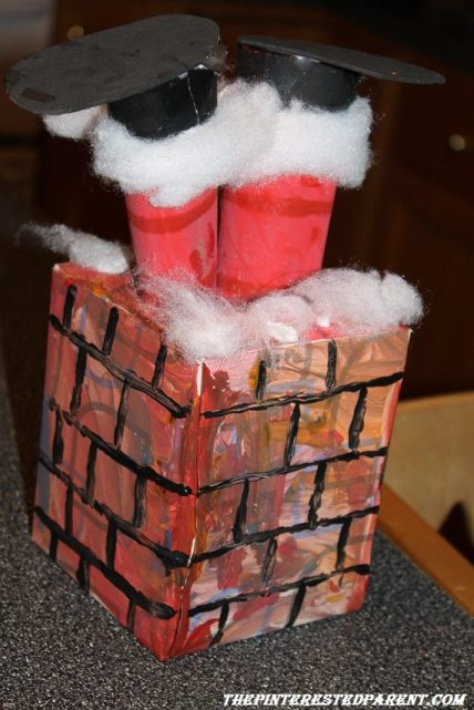 Tissue Box Santa stuck in the chimney craft for kids