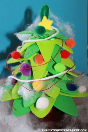 Foam Christmas tree craft for kids