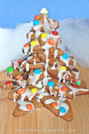 Gingerbread Christmas tree - a great baking and cooking project to do with the kids for the holidays. Preschoolers and food
