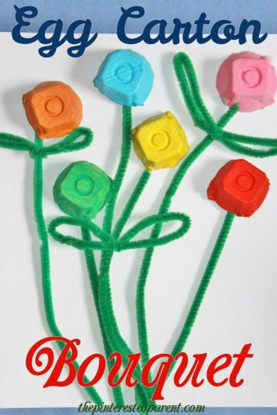 Egg carton flower bouquet. A simple craft for kids, perfect for Valentine's Day or Mother's Day