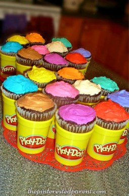 Play-doh inspired birthday party ideas. Kid's birthday ideas - play dough cupcakes