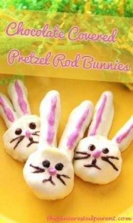 Chocolate Covered Pretzel Rod Easter Bunnies