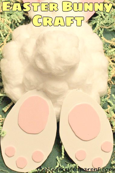 Paper plate or paper bowl cotton tail Easter bunny craft for kids. Arts and crafts