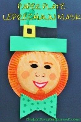 Leprechaun paper plate mask - crafts for kids on St. Patrick's day