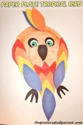 Paper Plate Tropical Bird Craft