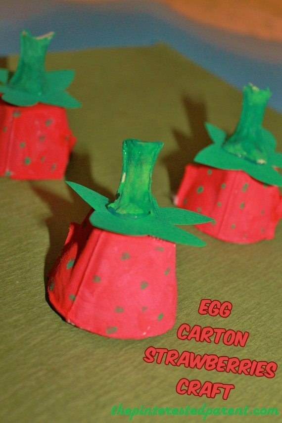 Egg carton strawberries craft the pinterested parent for Egg tray craft