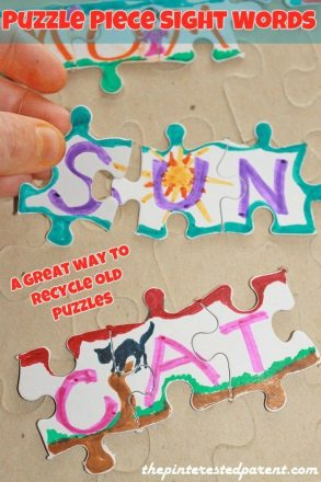 Puzzle piece sight words - this would be  agreat way to use recycled puzzles