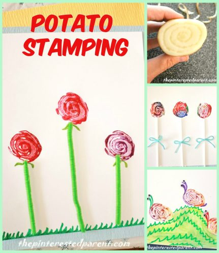 Potato Stamps - one potato - 3 different designs. Make a snaiil, a rose or a lollipop