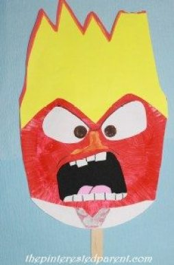 Inside Out Character Paper Plate Mask - Anger