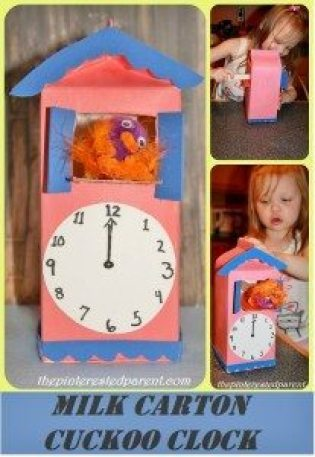 Milk Carton Cuckoo Clock with movable cuckoo