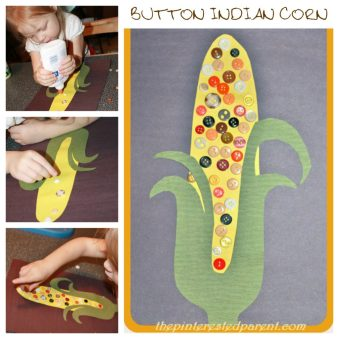 Button Indian Corn Craft - Fall & autumn crafts for kids