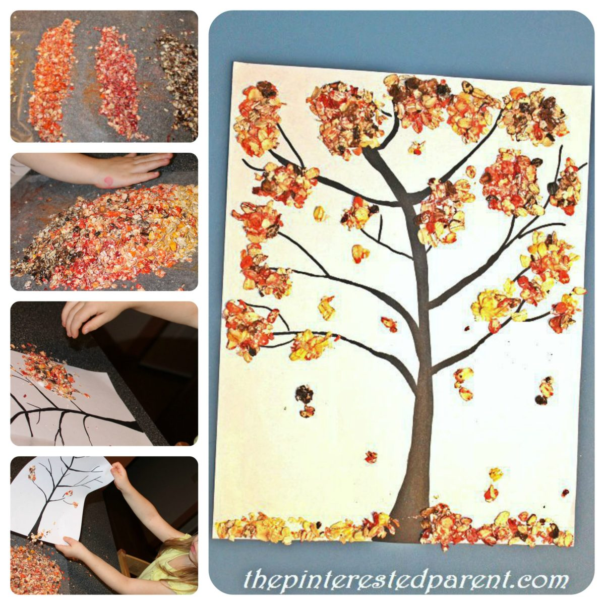 Colored Oats Fall Tree Craft