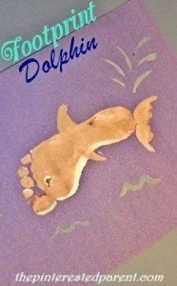 Footprint Dolphin Craft - Footprint Crafts A-Z D is for dolphin