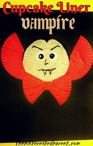 Cupcake Liner Vampire Craft - Kid's Halloween Crafts