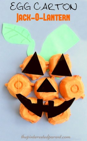Egg Carton Jack-O-Lantern Craft for kids. Fall autumn & Halloween Crafts & activities.
