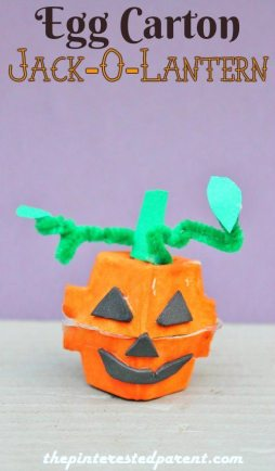 Egg Carton Jack-o-lantern craft - kid's fall & Halloween crafts
