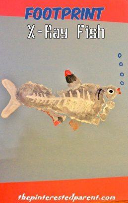 Footprint Animal Crafts A-Z X is for X-ray fish.