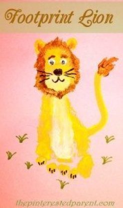 Footprint Lion - Kid's Footprint Crafts from A - Z L is for lion