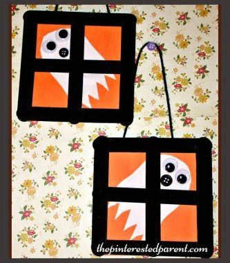 Popsicle stick Ghost Window - Halloween and fall arts & crafts for kids