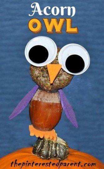 Acorn Owl Craft - Cute fall nature crafts